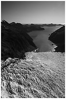 Aerial View of Holgate Glacier above Holgate Arm. Kenai Fjords National Park ( black and white)