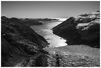 Aerial View of Holgate Glacier and backlit Holgate Arm. Kenai Fjords National Park ( black and white)