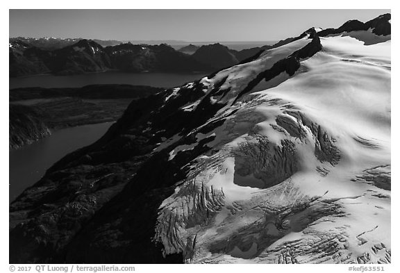 Aerial View of Harding Icefield above Aialik Bay. Kenai Fjords National Park (black and white)