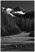 Stream and Phoenix Peak, Exit Glacier outwash plain. Kenai Fjords National Park ( black and white)