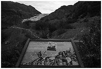 Exit Glacier was here interpretive sign. Kenai Fjords National Park ( black and white)