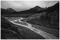 Gorge recently uncovered by Exit Glacier. Kenai Fjords National Park ( black and white)
