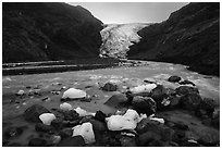 Icebergs and Exit Glacier, 2016. Kenai Fjords National Park ( black and white)