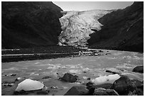 Glacial stream and Exit Glacier, 2016. Kenai Fjords National Park ( black and white)