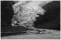Glacial stream and Exit Glacier terminus, 2016. Kenai Fjords National Park ( black and white)