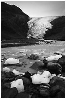 Icebergs, glacial stream, and Exit Glacier, 2016. Kenai Fjords National Park ( black and white)