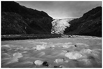Transluscent icebergs in glacial stream, Exit Glacier. Kenai Fjords National Park ( black and white)