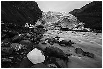 Iceberg, glacial stream, Exit Glacier terminus, 2016. Kenai Fjords National Park ( black and white)