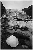 Iceberg, stream, Exit Glacier front, 2016. Kenai Fjords National Park ( black and white)