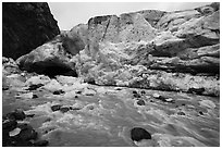 Wall of ice above glacial stream, Exit Glacier, 2016. Kenai Fjords National Park ( black and white)