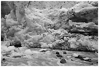 Stream and ice wall, Exit Glacier. Kenai Fjords National Park ( black and white)