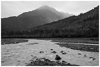 Streams on Exit Glacier outwash plain in the rain. Kenai Fjords National Park ( black and white)