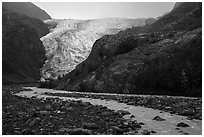 Exit Glacier viewed from glacial outwash plain. Kenai Fjords National Park ( black and white)