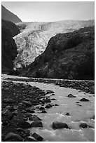 Stream, outwash plain, Exit Glacier. Kenai Fjords National Park ( black and white)