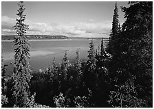 Bend of the Kobuk River, mid-morning. Kobuk Valley National Park, Alaska, USA. (black and white)