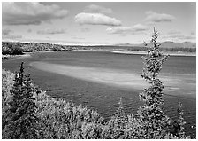 Sand bar and bend of the Kobuk River, mid-morning. Kobuk Valley National Park ( black and white)