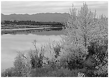 River, Warring Mountains, and fall colors at Onion Portage. Kobuk Valley National Park, Alaska, USA. (black and white)