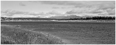 Wide river bordered by grassy banks. Kobuk Valley National Park (Panoramic black and white)