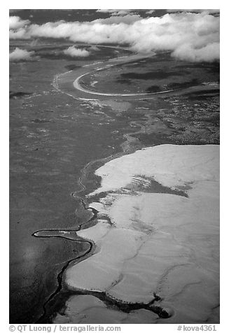 Aerial view of the Great Kobuk Sand Dunes. Kobuk Valley National Park (black and white)