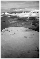 Aerial view of the Great Kobuk Sand Dunes. Kobuk Valley National Park, Alaska, USA. (black and white)