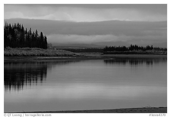 Dusk on the Kobuk River. Kobuk Valley National Park (black and white)