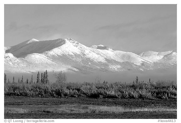 Baird mountains with a fresh dusting of snow, morning. Kobuk Valley National Park (black and white)