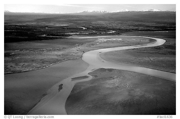 Aerial view of river and estuary. Lake Clark National Park (black and white)