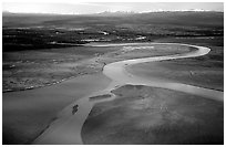 Aerial view of river and estuary. Lake Clark National Park, Alaska, USA. (black and white)