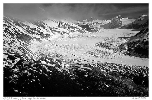 Aerial view of wide glacier near Lake Clark Pass. Lake Clark National Park (black and white)