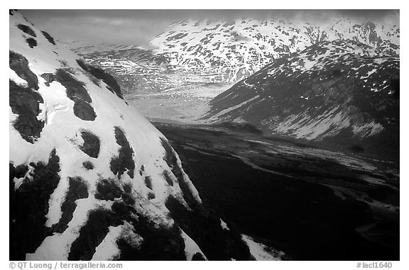 Aerial view of Tikakila River valley. Lake Clark National Park (black and white)
