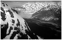 Aerial view of Tikakila River valley. Lake Clark National Park, Alaska, USA. (black and white)