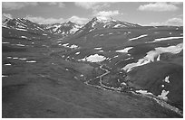 Aerial view of river and valley in the Twin Lakes area. Lake Clark National Park, Alaska, USA. (black and white)
