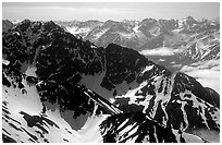 Aerial view of ridges, Chigmit Mountains. Lake Clark National Park, Alaska, USA. (black and white)