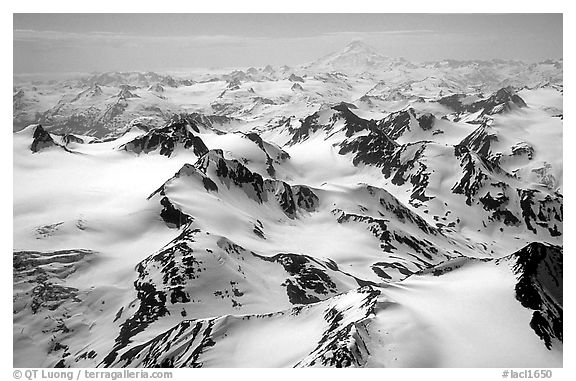 Aerial view of snowy peaks, Chigmit Mountains. Lake Clark National Park (black and white)