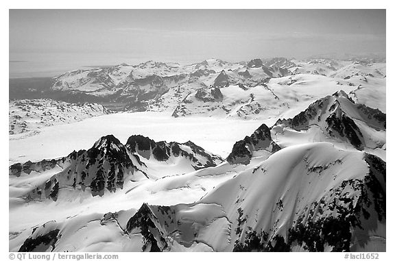 Aerial view of icefields and peaks, Chigmit Mountains. Lake Clark National Park (black and white)