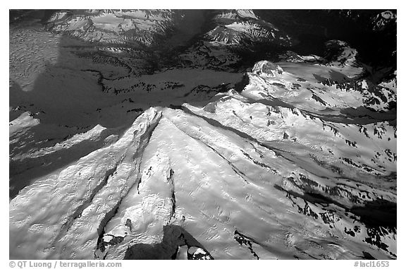 Aerial view of Redoubt Volcano. Lake Clark National Park (black and white)