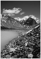 Talus, Turquoise Lake and Telaquana Mountain. Lake Clark National Park, Alaska, USA. (black and white)