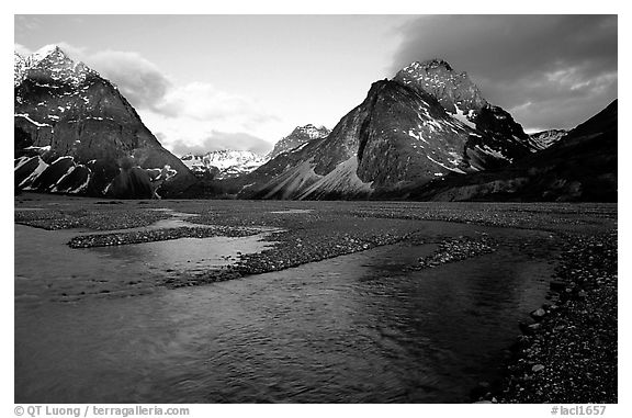 River bar below the Telaquana Mountains, sunset. Lake Clark National Park (black and white)