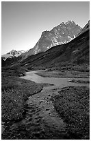 Stream on plain  below the Telaquana Mountains, late afternoon. Lake Clark National Park ( black and white)