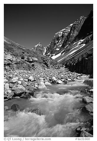 Swift creek below the Telaquana Mountains. Lake Clark National Park (black and white)
