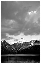 Rainbow and Telaquana Mountains above Turquoise Lake, sunset. Lake Clark National Park, Alaska, USA. (black and white)