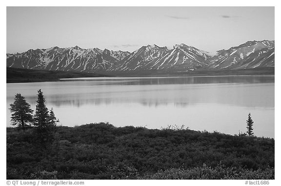 Twin Lakes, sunset. Lake Clark National Park (black and white)