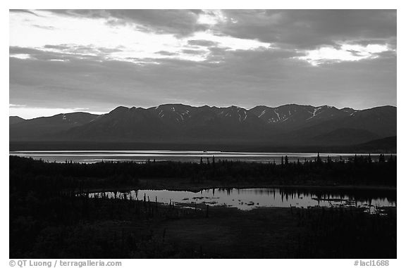 Lake Clark from the base of Tanalian mountain, sunset. Lake Clark National Park (black and white)