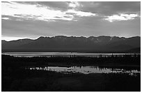 Lake Clark from the base of Tanalian mountain, sunset. Lake Clark National Park ( black and white)