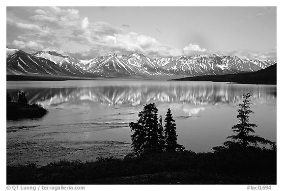 Twin Lakes, evening. Lake Clark National Park (black and white)