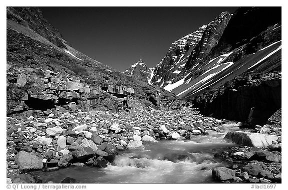 Creek below Telaquana mountains. Lake Clark National Park (black and white)