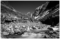Creek below Telaquana mountains. Lake Clark National Park ( black and white)