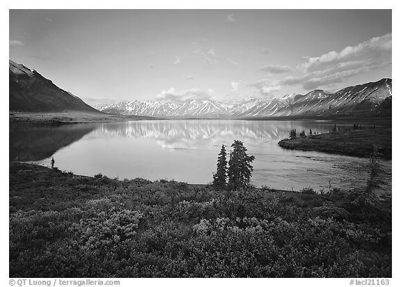 Twin Lakes with mountain reflections and green tundra, evening. Lake Clark National Park (black and white)