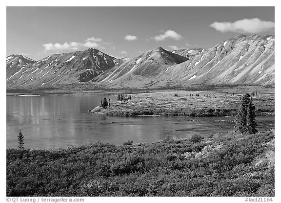 Twin Lakes, morning. Lake Clark National Park (black and white)