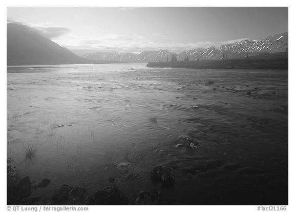 Outlet stream of Twin Lakes on a foggy morning. Lake Clark National Park (black and white)
